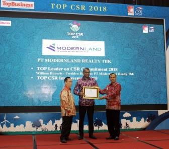 PT Modernland Realty Tbk. Raih Penghargaan TOP CSR 2018